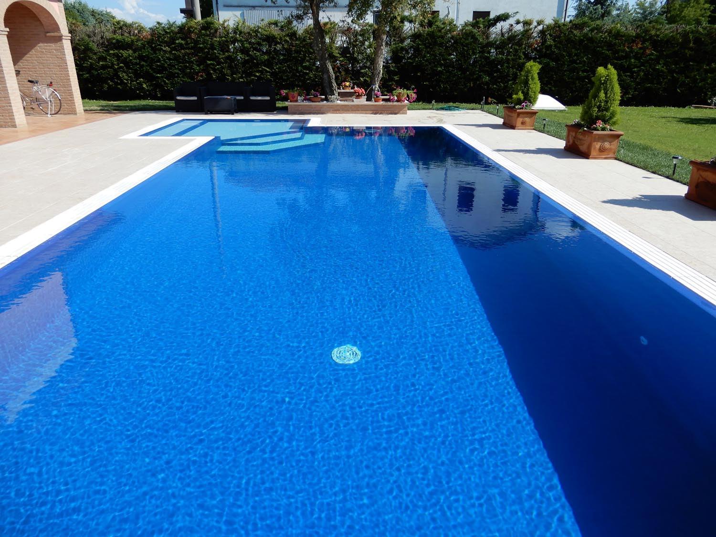 Panorama riflesso sullo specchio d'acqua formato da una piscina a sfioro con liner blu scuro.